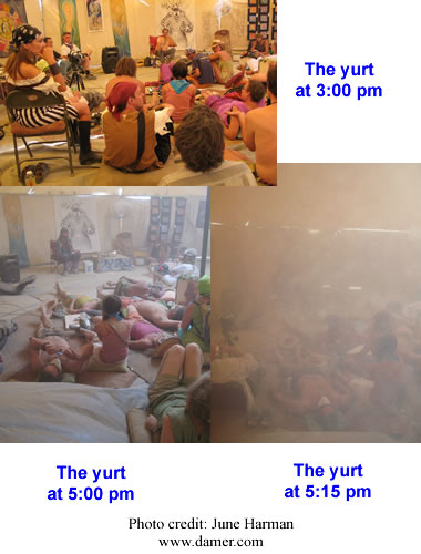Inside the yurt during the Friday playalogues as a dust storm blew in during the 2007 Burning Man festival
