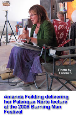 Amanda Feilding delivering her Palenque Norte lecture at the 2006 Burning Man Festival