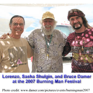 Lorenzo, Sasha Shulgin, and Bruce Damer at the 2007 Burning Man festival