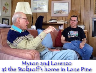 Myron Stolaroff and Lorenzo at the Stolaroff's home in Lone Pine