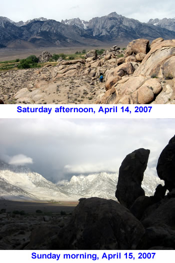 Snow on the high Sierra's in April 2007