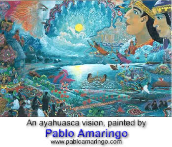 An ayahuasca vision, painted by Pablo Amaringo