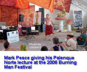 Mark Pesce giving his Palenque Norte lecture at the 2006 Burning Man Festival