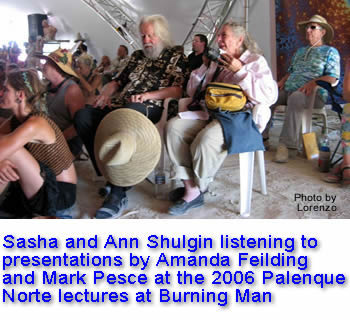 Sasha and Ann Shulgin listening to persentations by Amanda Feilding and Mark Pesec at the 2006 Palenque Norte lectures at Burning Man