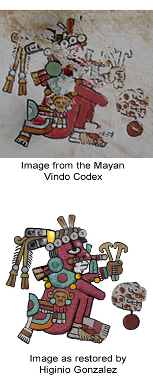Image from the Mayan Vindo Codex and a restored version by Higinio