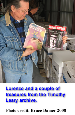 Lorenzo and a couple of treasures from the Timothy Leary archive.