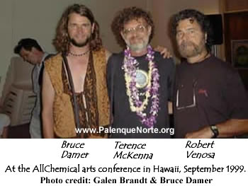 Bruce Damer, Terence McKenna, and Robert Venosa at the AllChemical arts conference in Hawaii, September 1999.