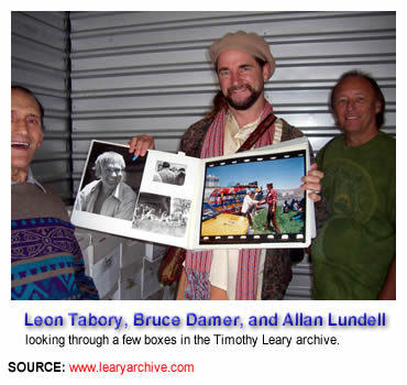 Leon Tabory, Bruce Damer, and Allan Lundell looking through a few boxes in the Timothy Leary archive. ... SOURCE: www.learyarchive.com